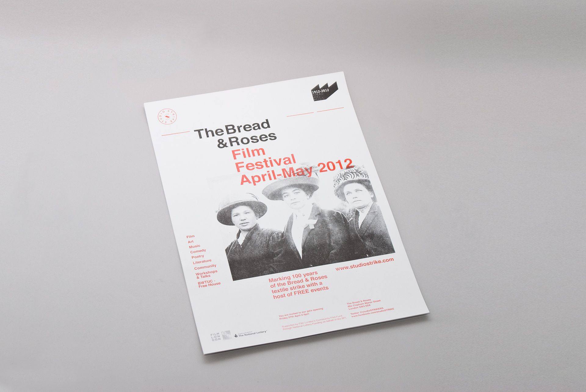 The Bread and Roses Film Festival | Studio Mothership  100 års-jubileum til filmfestival. Blander gammelt og moderne, elegant.