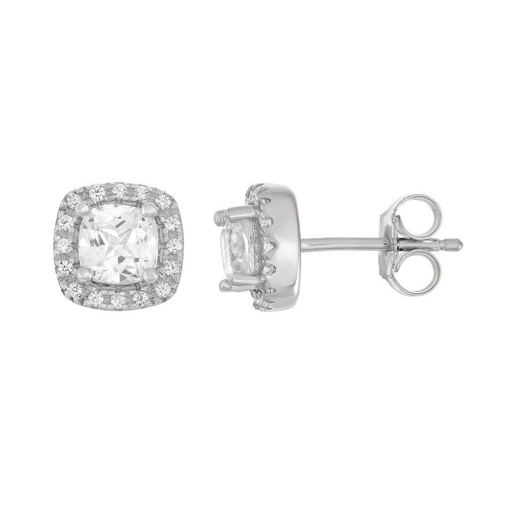 89ad5d61d Sterling Silver Lab-Created White Sapphire Cushion Stud Earrings, Women's