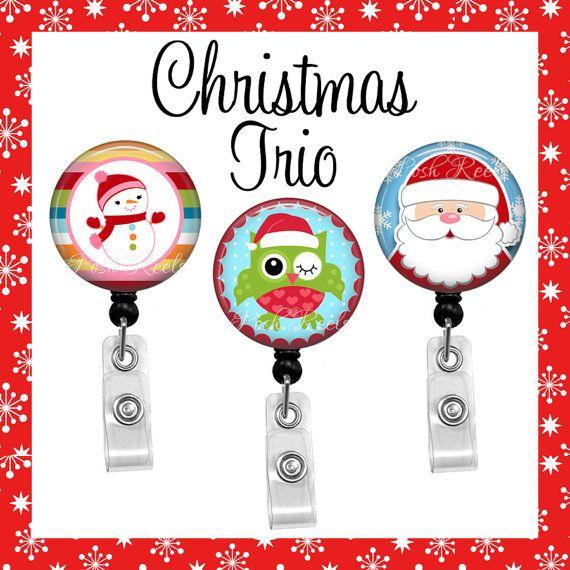 Christmas Badge Holder  Holiday Trio Badge Reel Set  by PoshReels  Get the designs here: https://www.etsy.com/listing/86556998 https://www.etsy.com/listing/170829151