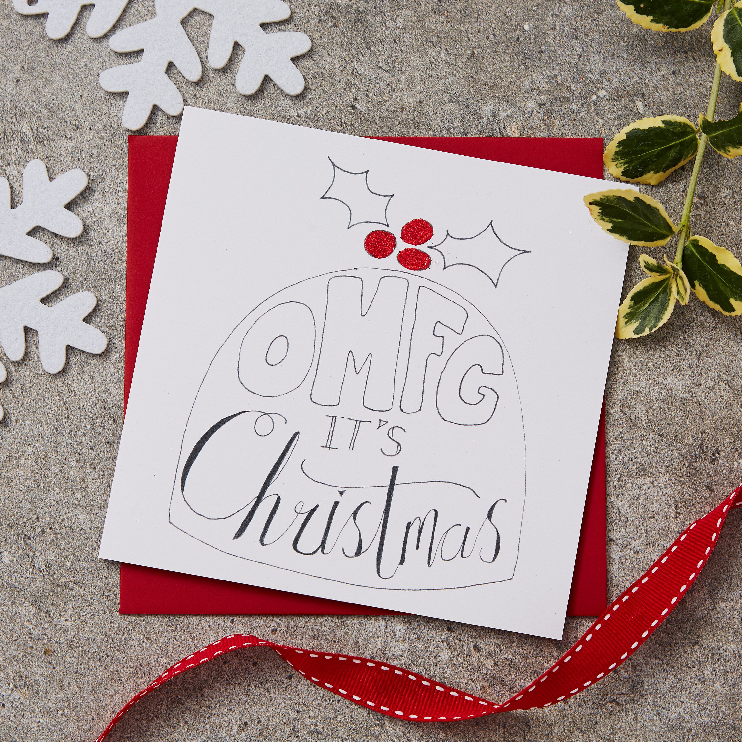 Omfg Its Christmas Blank Greeting Card Etsy Christmas Card Book Handmade Greeting Card Designs Christmas Greetings For Friends