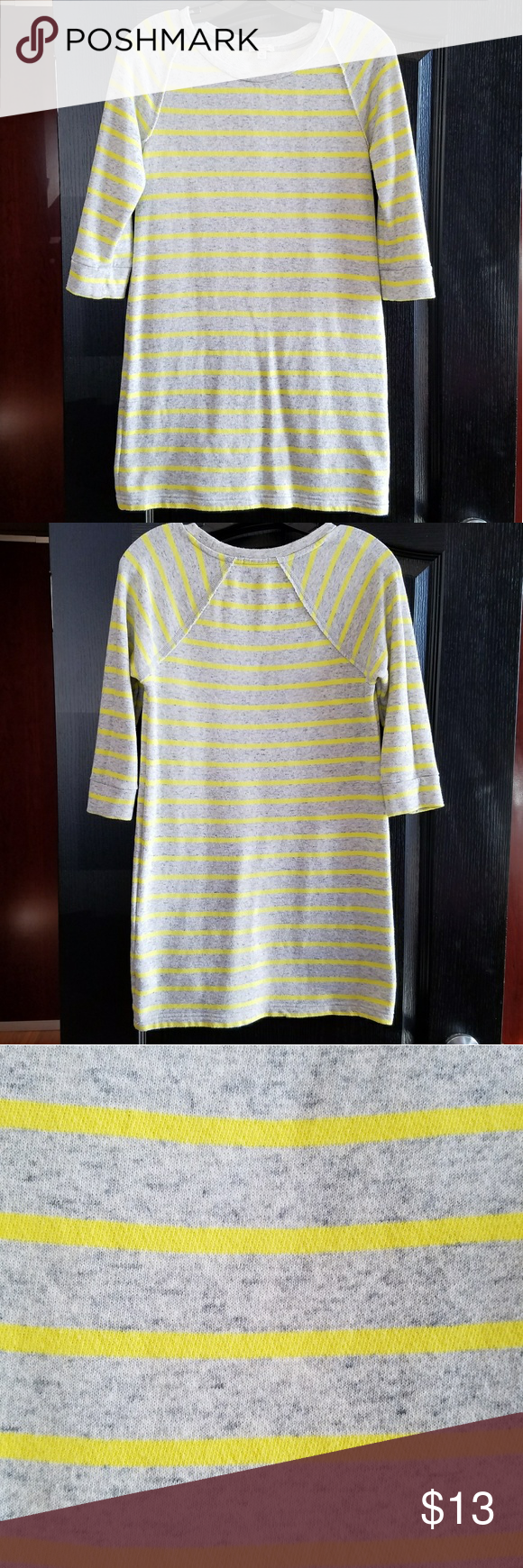 Gap sweatshirt dress grayyellow striped gap sweatshirt dress gap