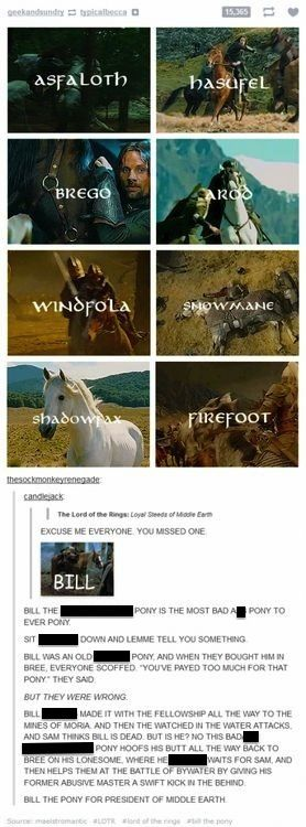 The horses of Lord of the Rings. Finally I found the clean version. Bill is seriously like my favorite character