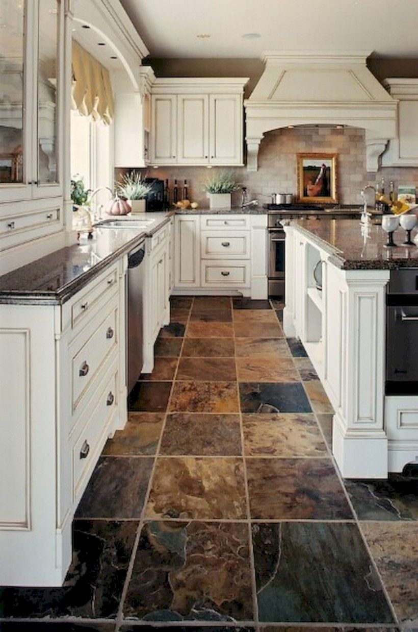 25 Gorgeous Kitchen Tile Floor Design Slate Kitchen Rustic Kitchen Backsplash Slate Floor Kitchen