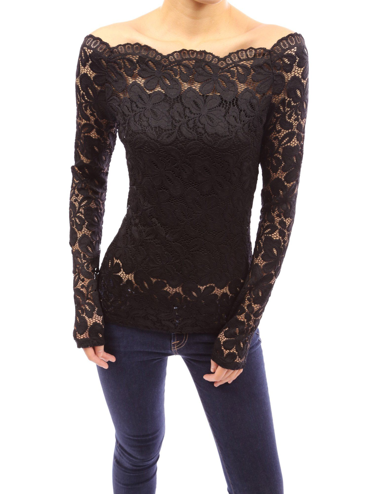 8946674d572 $39.99 PattyBoutik Floral Lace Scallop Off Shoulder Long Sleeve Fitted  Sheer Blouse Top at Amazon Women's Clothing store: