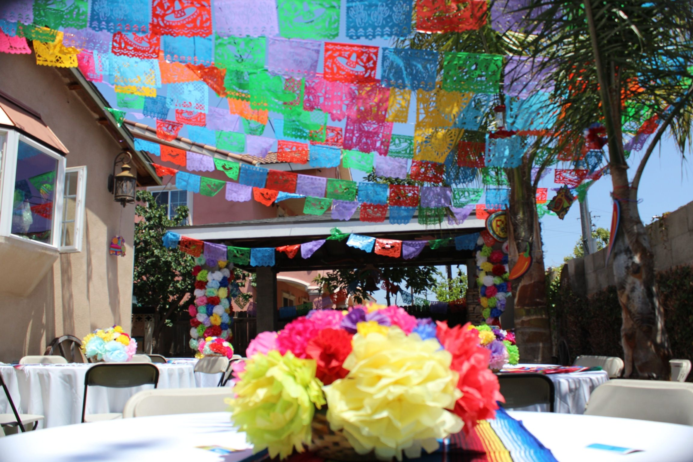 Mexican fiesta decoration papel picado flags paper flowers for Mexican party decorations