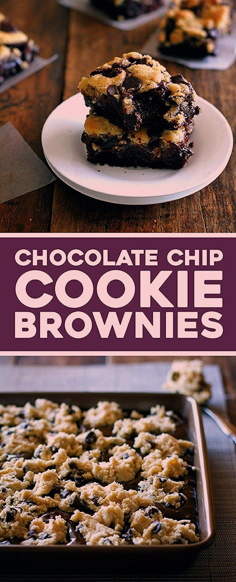 easy chocolate chip cookie brownies have my very favorite chocolate chip cookie dough baked into th