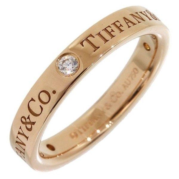 Tiffany   Co. 3p Diamonds Logo Wedding Ring In 18k Rose Gold Us4.5 ... b913fbd8c3