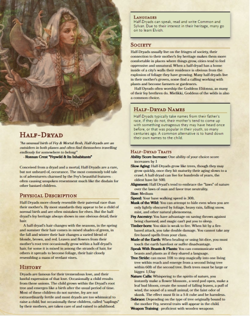 "dnd-5e-homebrew: ""Half-Dryad Race by ianfhutner "" 