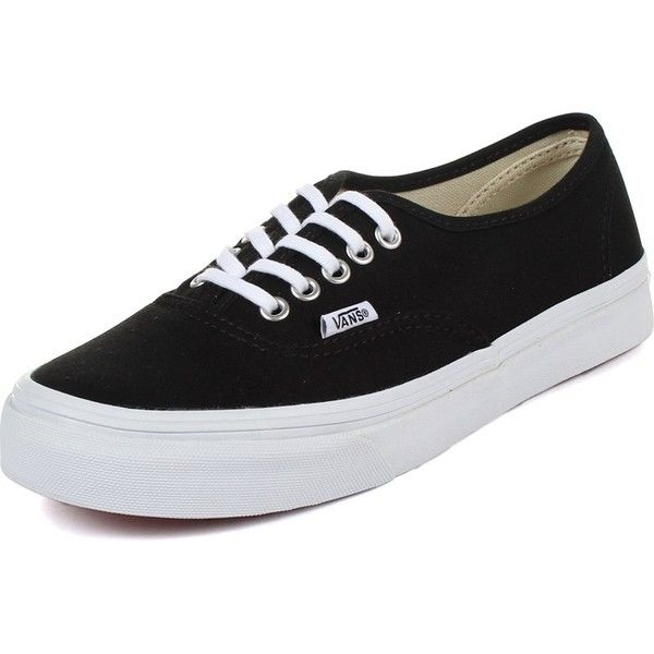 d0e5ad59906e66 Vans Unisex Authentic Slim Shoes In Black True ❤ liked on Polyvore  featuring shoes