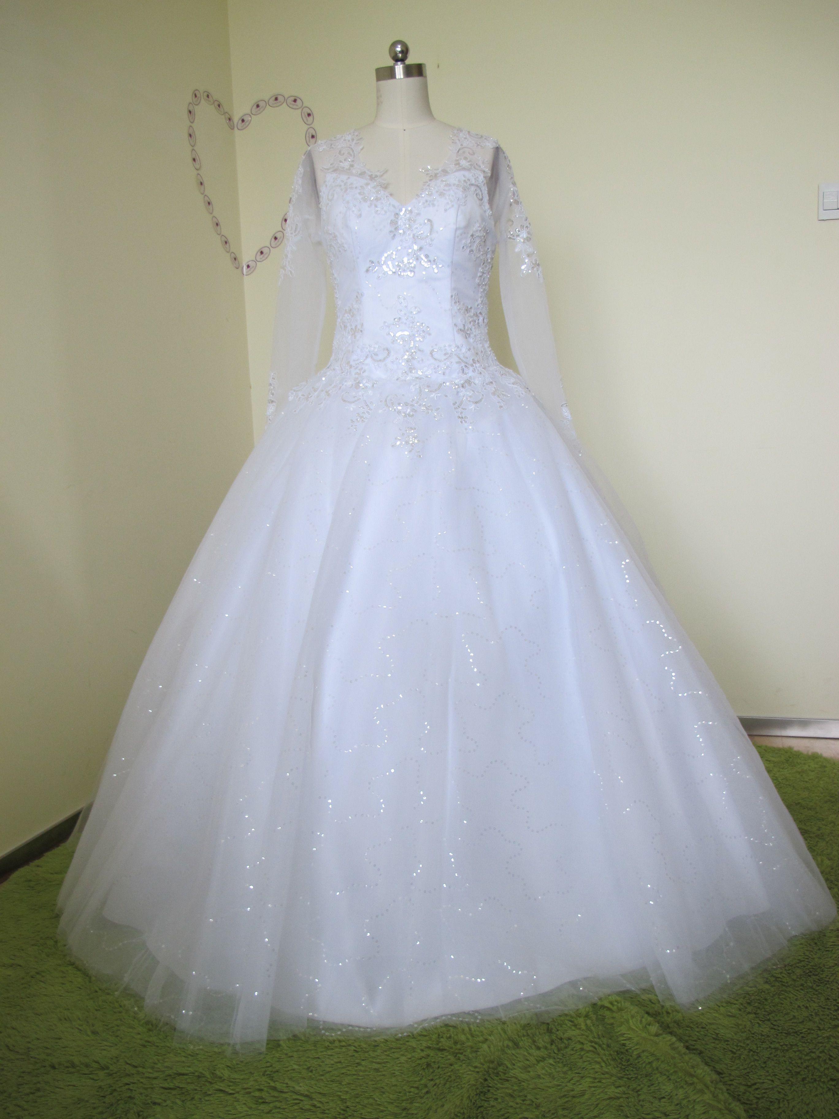 Elegant ball gown bright tulleusatin vneck bare back floor length