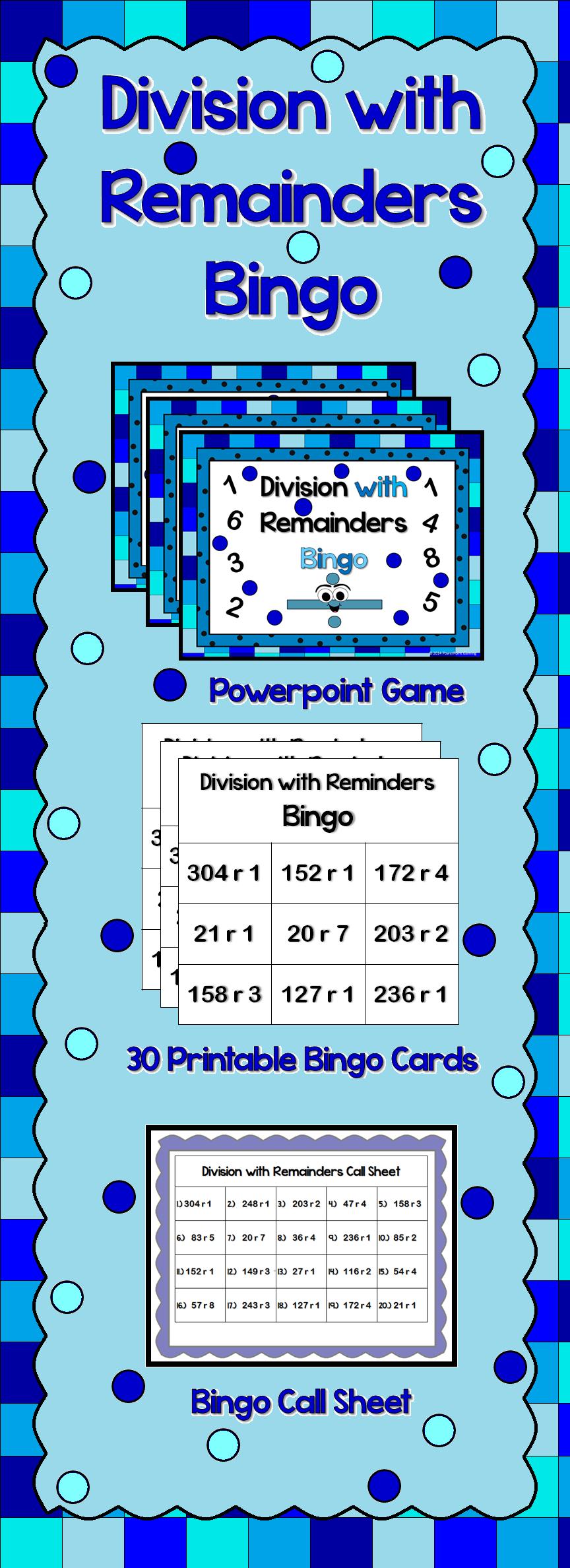 Bingo - Division with Remainders Powerpoint Game   Game calls, Bingo ...