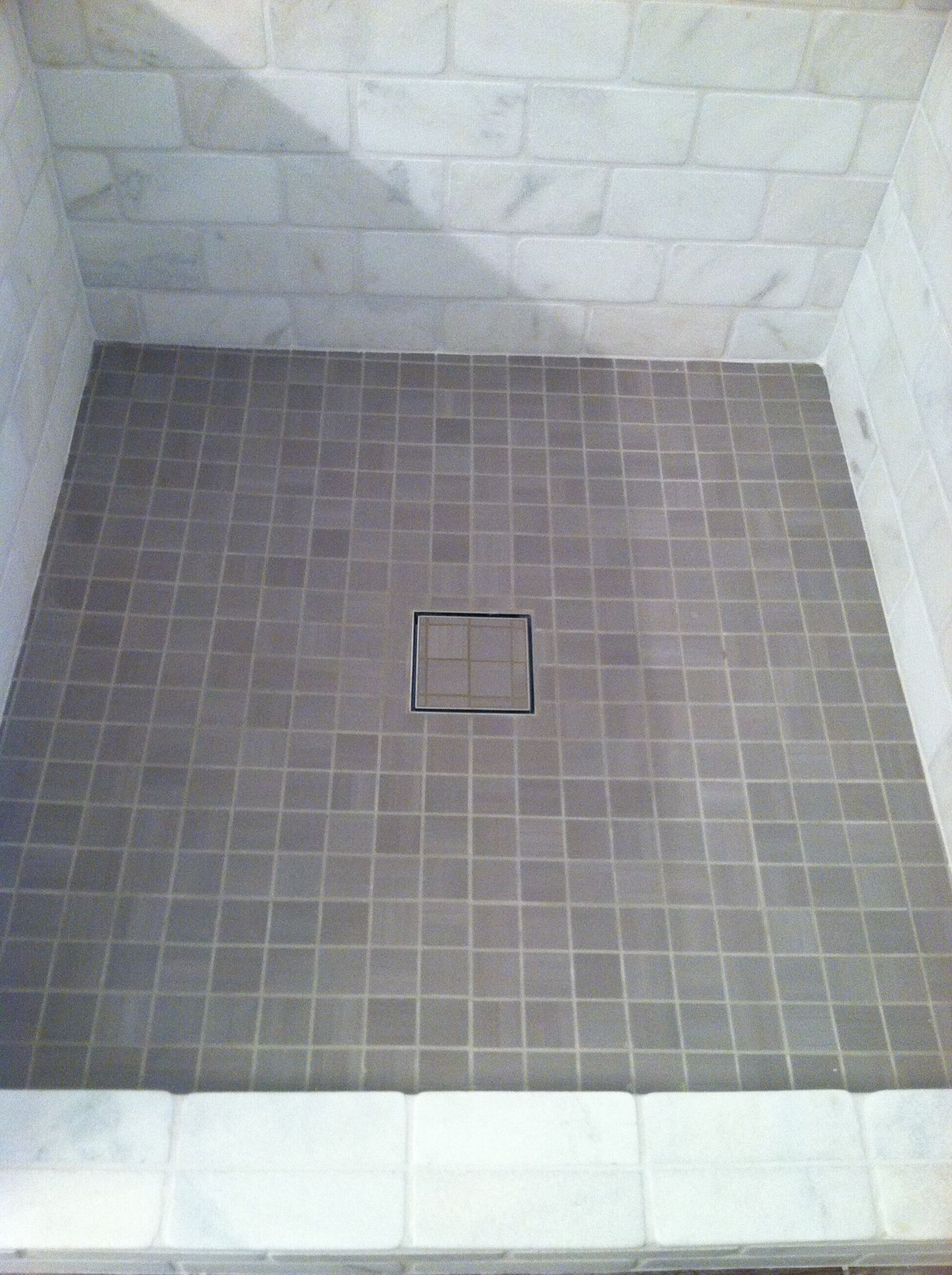 Hidden Shower Drain In Our Master Bathroom Hidden Shower Shower Drain Simple Bathroom Renovation