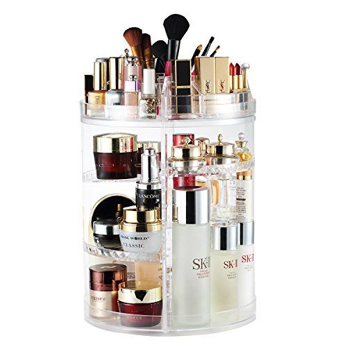 AMEITECH Makeup Organizer, 360 Degree Rotating Adjustable Cosmetic Storage Display Case wi...