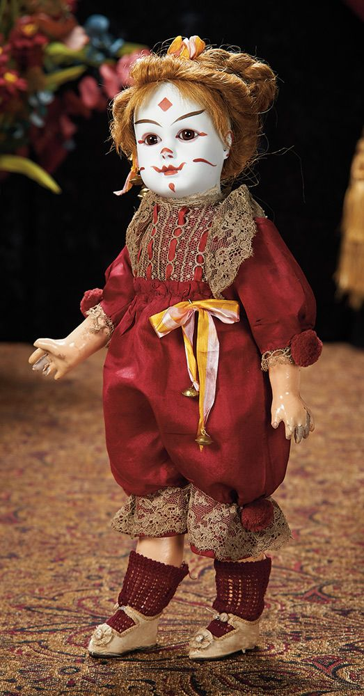 Wonderful French Bisque Bebe Steiner as Clown, Figure A, by Jules Steiner. Lot # 186.