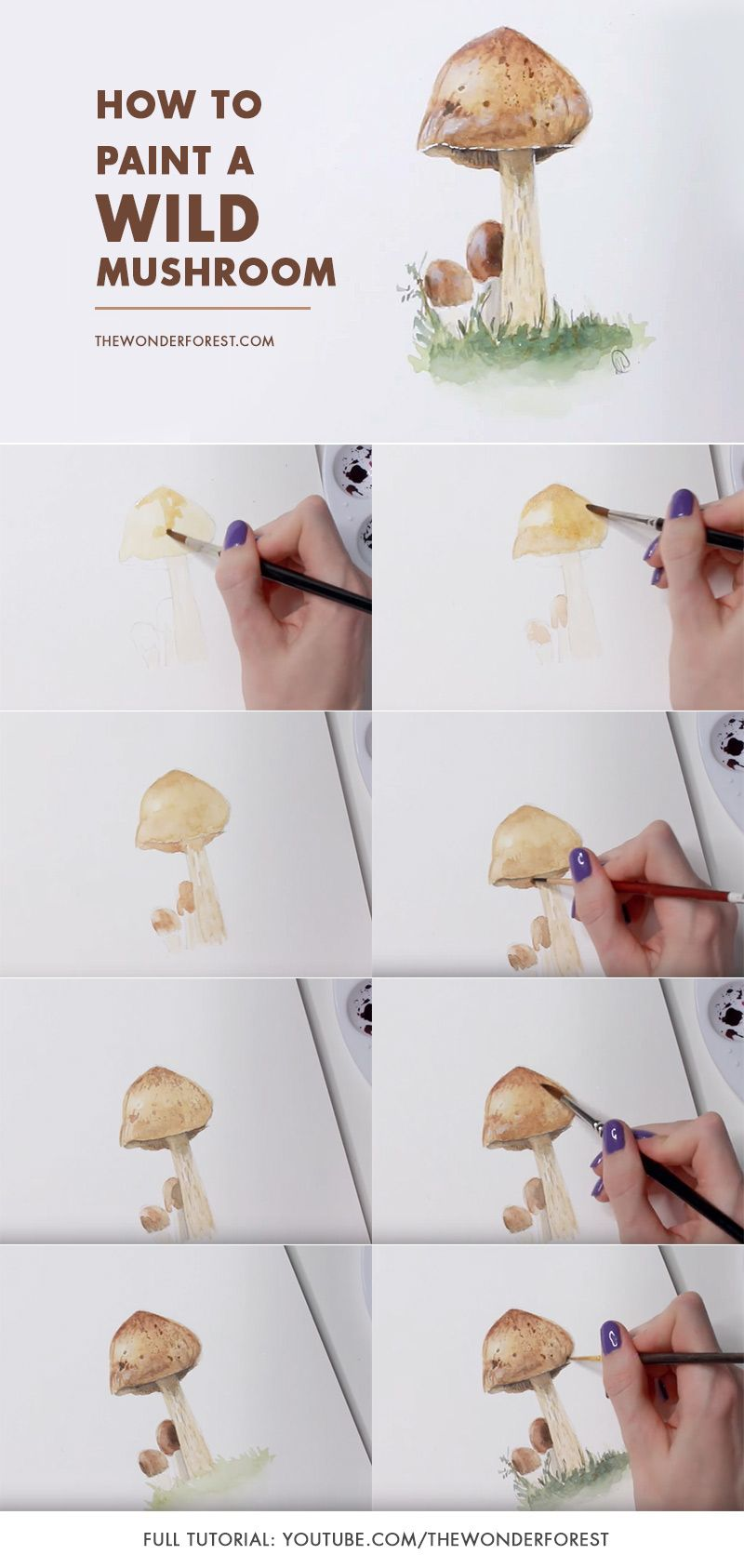 How To Paint A Wild Mushroom Watercolor Painting Techniques