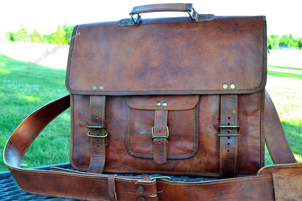 Vintage Brown Leather Messenger Bag Brown 156