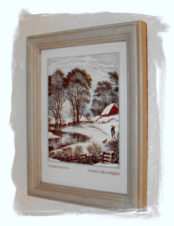 Currier Amp Ives Framed Print Winter Moonlight By