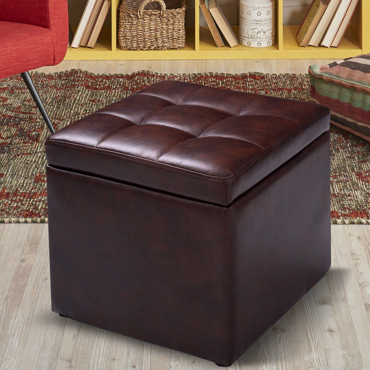 Costway 16 Cube Storage Ottoman With Hinge Top Brown