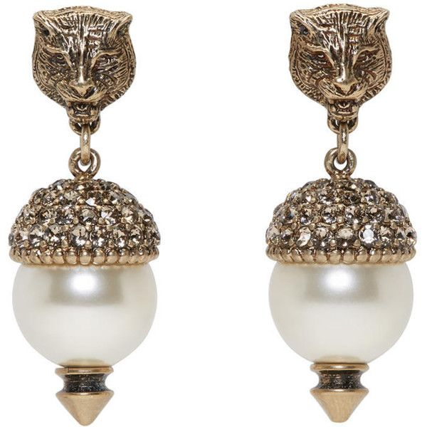 928b68851 Gucci Gold Feline Pearl Earrings ($440) ❤ liked on Polyvore featuring  jewelry, earrings, gold, gucci earrings, fake stud earrings, yellow gold  earrings, ...
