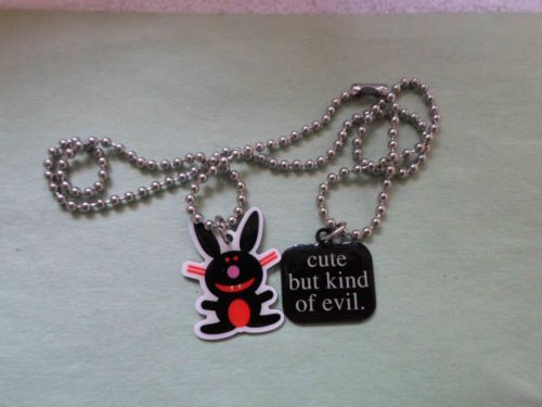 ( NEW ) HAPPY BUNNY NECKLACE 81/2 CHAIN ( BLACK ( ( CUTE BUT KIND OF EVIL )
