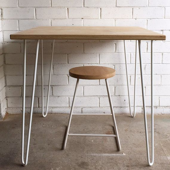 Hairpin leg cafe table with plywood top by for Plywood table hairpin legs