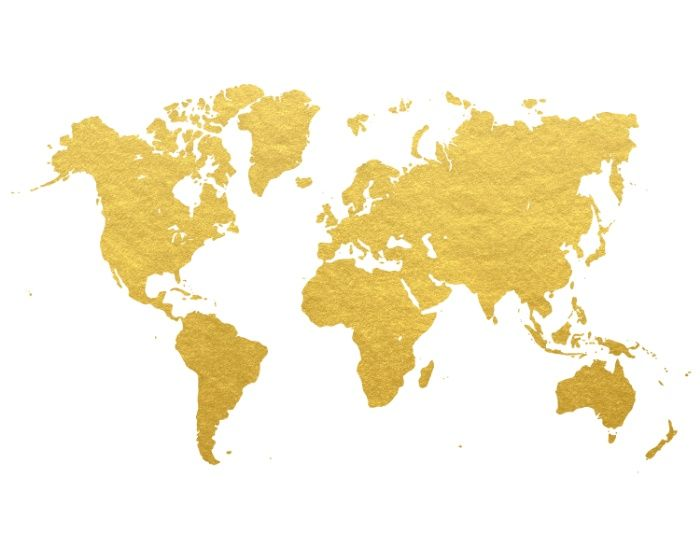 Gold World Map Art Print Small Have Guests Sign And Frame For - Small world map poster