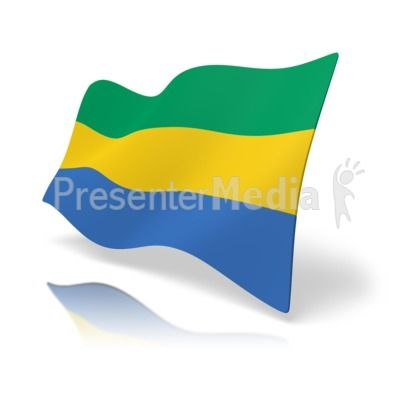 This clip art image shows the Gabon flag at a perspective angle
