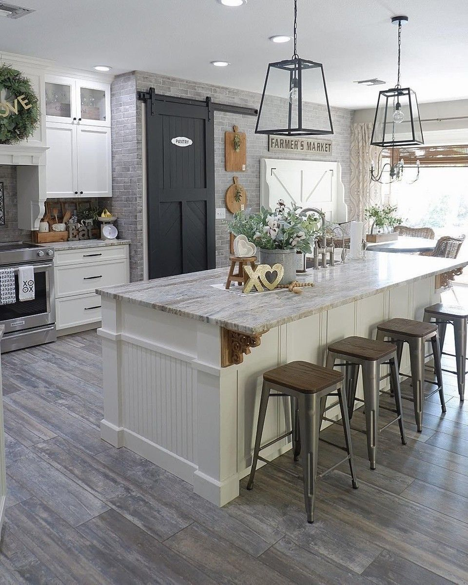 Farmhouse inspired white kitchen with grey tones and open