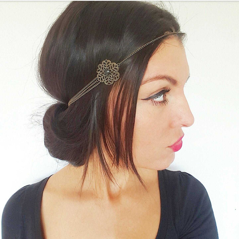 Headband bijou de tête fleurs bronze et noir , accessoire cheveux hippie  chic  Accessoires coiffure