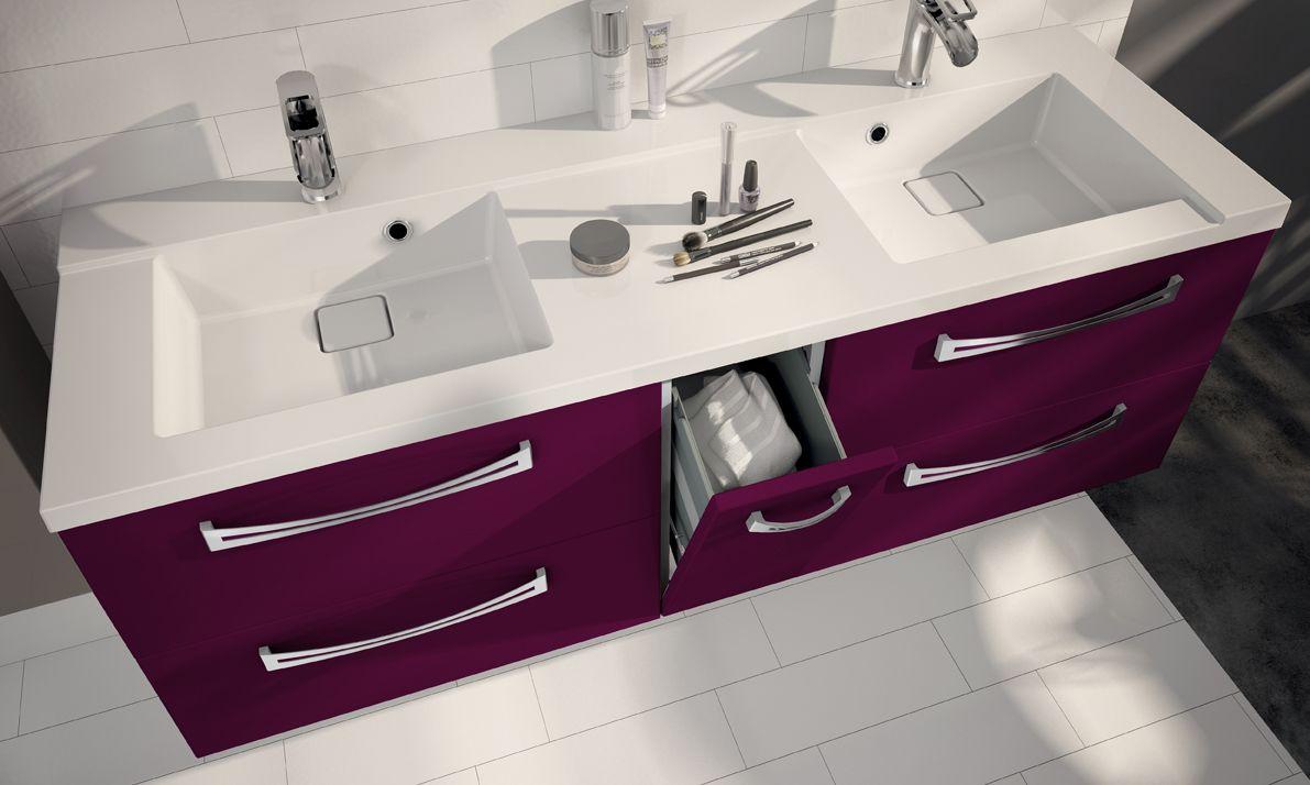 Meuble Salle De Bain Double Vasque Couleur Aubergine   Salle De Bain  Design, Rangement Et