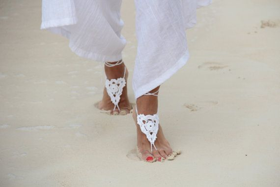 White & lilac crochet barefoot sandal, bangle, anklet, bridesmaid accessories,bridal accessories,wedding shoes accessories