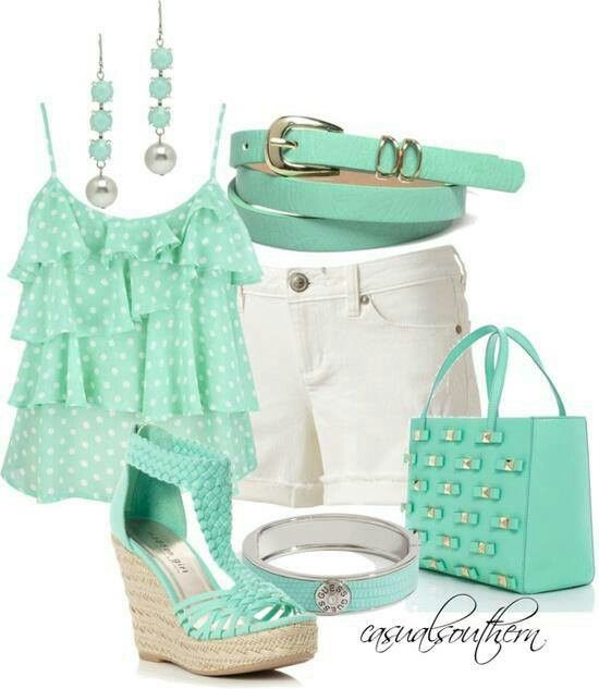 Ruffle Cami And White Shorts Mint Green Outfits Green Outfit