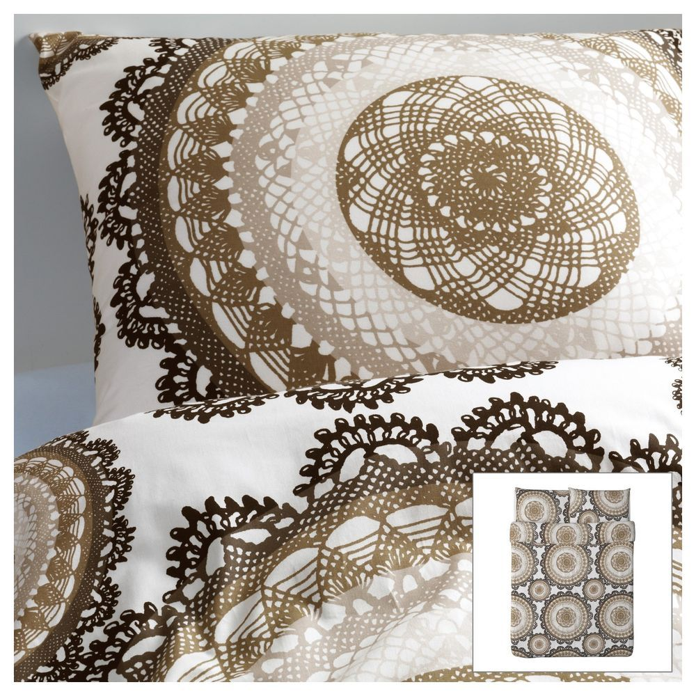 ikea lyckoax full queen duvet quilt cover 3p set modern lace medallion taupe tan