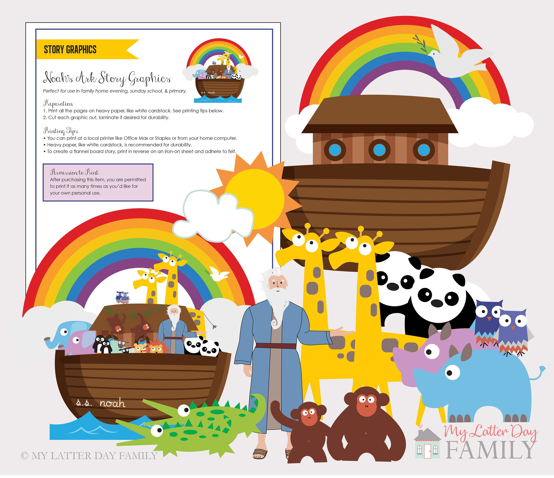 Noah S Ark Story Graphics Digital Instant Download To