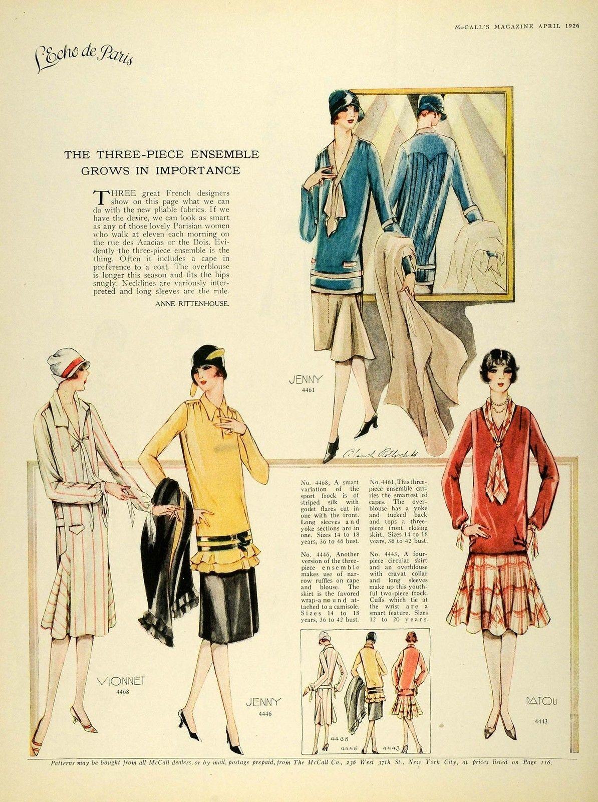 1926 Print McCalls Flapper Fashion Dressmaking Parisian ...