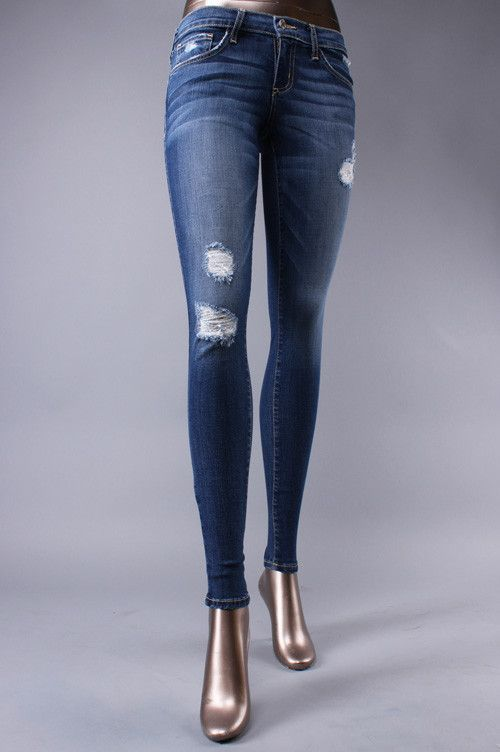 (L7568m)Flying Monkey Vintage Wash Distressed Skinny Jeans