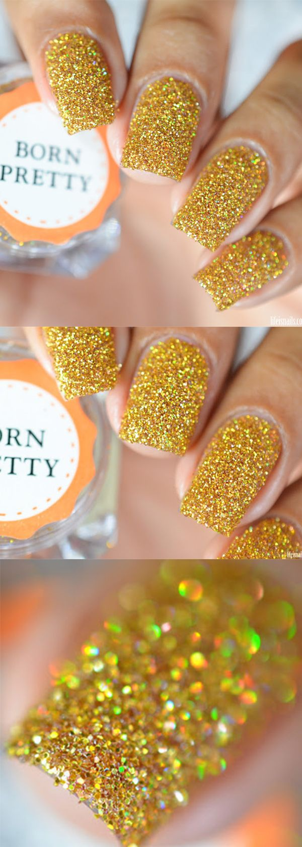 bornpretty holographic laser powder nails, cool yellow color with ...