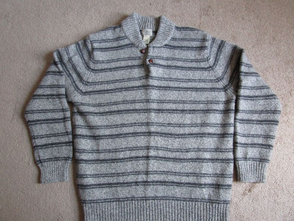 Ll Bean Mens Sweater X Large Grey Striped Button Collar 100