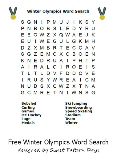 Printable Winter Olympics Word Search