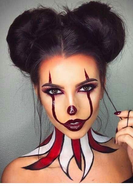 Crazy Halloween Face And Neck Makeup Halloween Makeup Clown