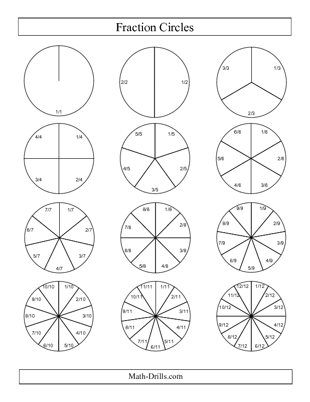 Fractions Worksheet -- Small Black and White Fraction Circles with ...