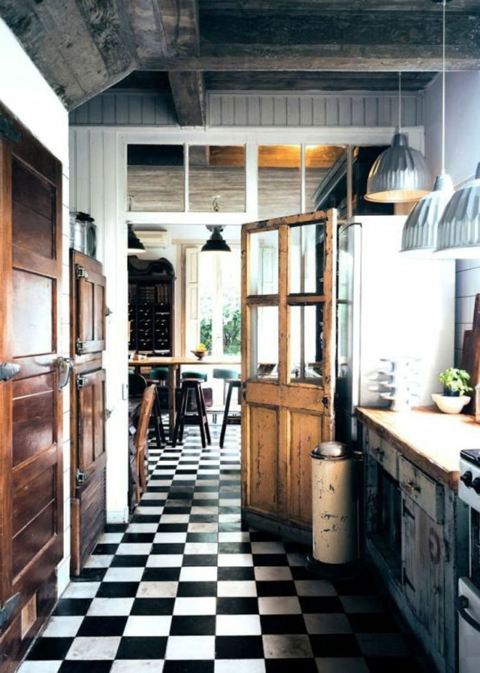 Vous Cherchez Des Idées Pour Un Carrelage Noir Et Blanc On Vous - Faience blanche cuisine pour idees de deco de cuisine