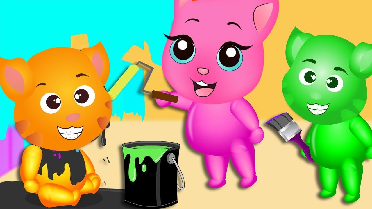 Finger Family Funny Cats | Funny Cats painting colors finger family rhymes for kids