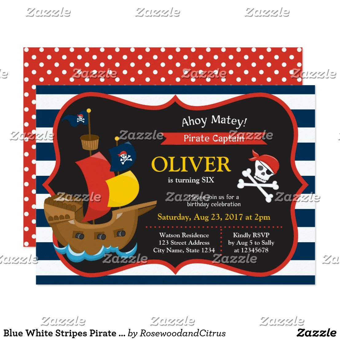 Blue White Stripes Pirate Ship Birthday Invitation   { Happy ...