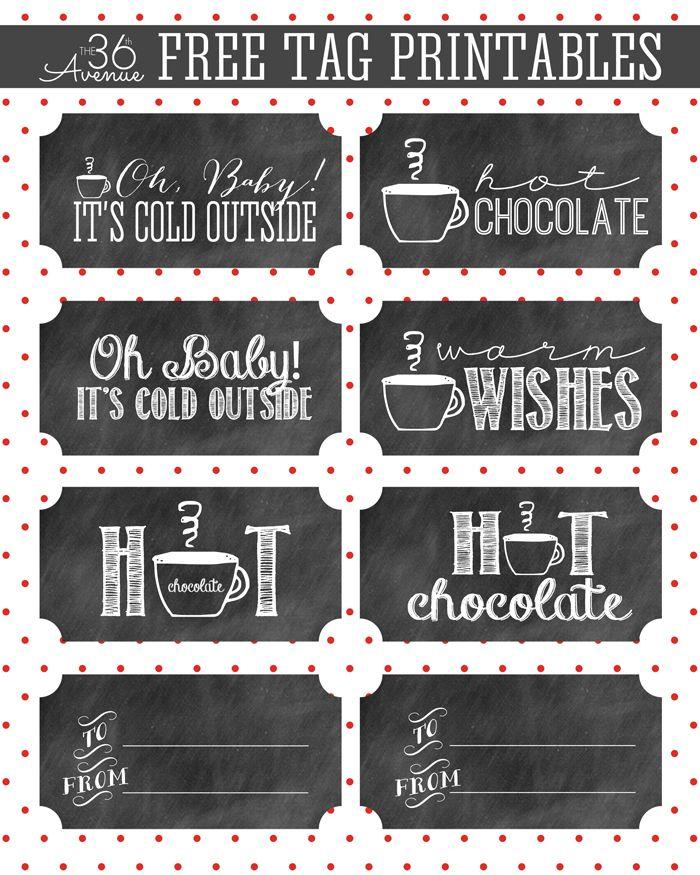 Hot Chocolate And Gift Tag Printable Christmas Decorations
