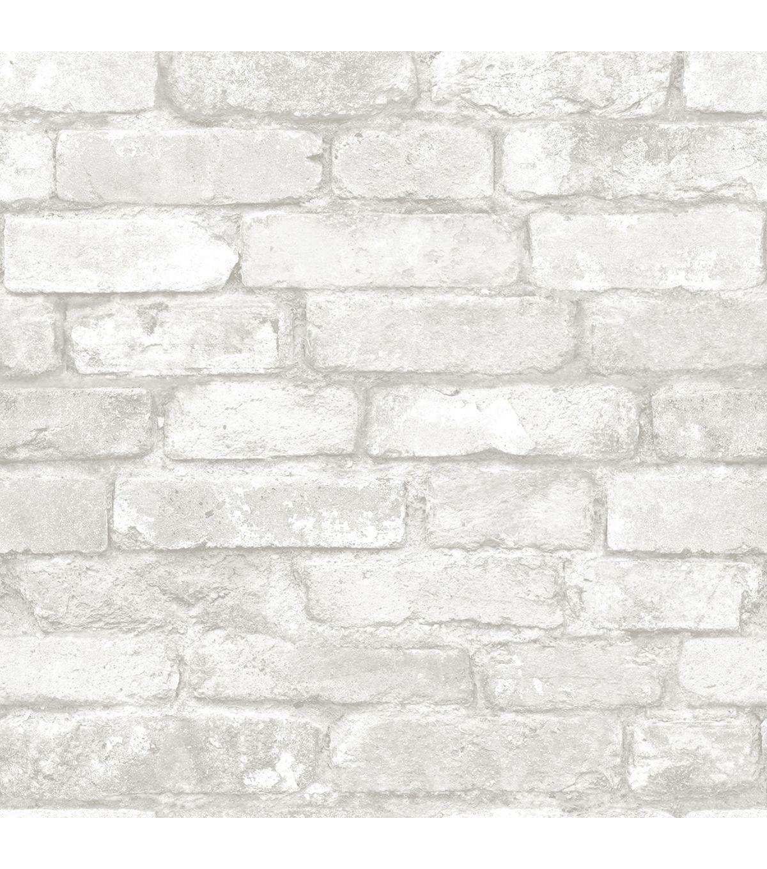 WallPops NuWallpaper Grey White Brick Grey brick effect
