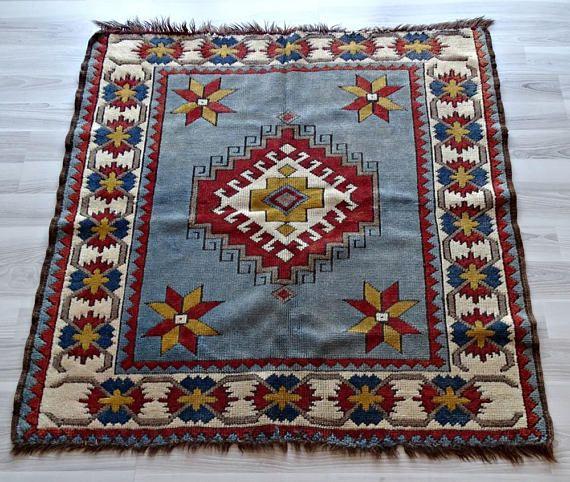 Rug Blue Kilim Square Turkish