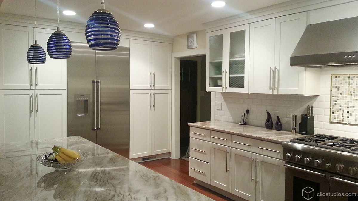 CliqStudios Painted White and Birch Sable kitchen cabinets ...