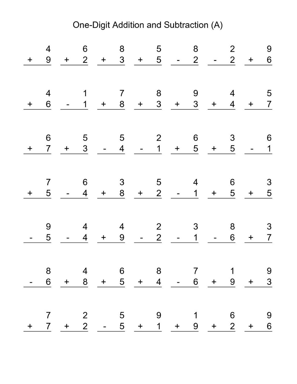 Free Addition And Subtraction Worksheets For Kids Addition And