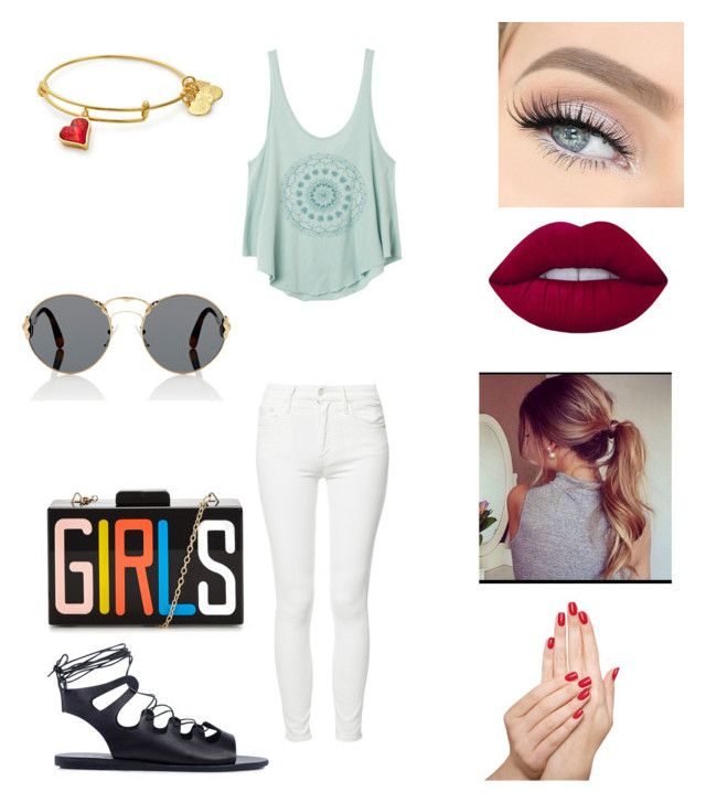 """""""Untitled #1649"""" by glamor234 on Polyvore featuring RVCA, Mother, Ancient Greek Sandals, Prada, GET LOST, Lime Crime and Piggy Paint"""
